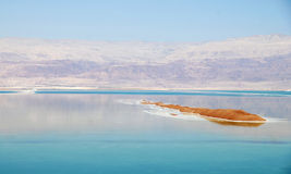 Island in the dead sea. With landscape and Jordan in the background Royalty Free Stock Photography