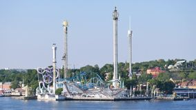 On the island of Djurgården, amusement park in Stockholm. In Stockholm, amusement park with different rides. It is the oldest amusement park in Sweden stock footage