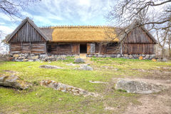 The island of Djurgarden, Stockholm. Skansen Museum. Barn Royalty Free Stock Photography