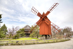 The island of Djurgarden, Stockholm. Skansen Museum. Mill Royalty Free Stock Photos