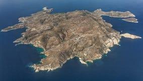 Island of Donousa, Cyclades, aerial view. Island of Donousa, Cyclades, Greece, aerial view Royalty Free Stock Photos