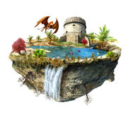 Island with a dragon and tower castle Stock Images