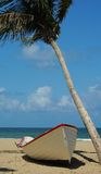 Island Dreaming. Boat on island under the palms Royalty Free Stock Image