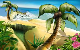Island of Dreams. 2 - tropical background, hand drawn Stock Image