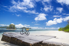 The island of dreams. Bicycle on moorage. Royalty Free Stock Image