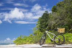 The island of dreams.Bicycle on moorage. Royalty Free Stock Images