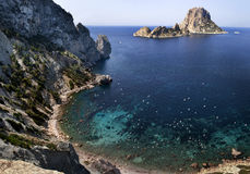 Island of Es Vedra. Es Vedra is an islet off Ibiza in the Balearic Islands is part of the Natural Park of Es Vedra, Spain Stock Photos