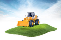 Island with excavator machine floating in the air on sky backgro. 3d rendered illustration of excavator machine floating in the air on sky background Royalty Free Stock Photos