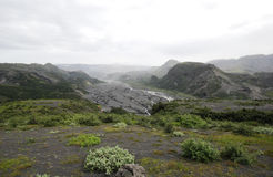Island / Eyjafjallajokull. In the valley of Markarfljot / Eyjafjallajokull (in background) in Iceland after volcanic eruption in spring 2010. The horizont is Royalty Free Stock Images