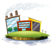 An island with factories Stock Photo