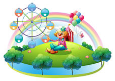 An island with a female clown and an amusement park. Illustration of an island with a female clown and an amusement park on a white background Stock Photography