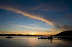Island Ferry Dock at Sunrise. Stock Images