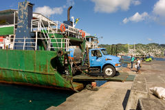 An island ferry at the grenadines wharf Royalty Free Stock Photos