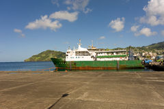 An island ferry at the grenadines wharf Royalty Free Stock Image