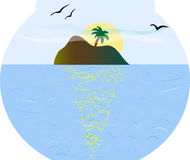 Island in fishbowl. Beautiful seascape of island in fishbowl Stock Photo