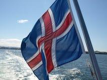 Island flagga som flödar i vinden Fotografering för Bildbyråer