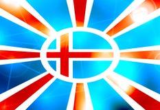 Island-Flagge auf Sonne strahlt Hintergrund aus Lizenzfreies Stockbild