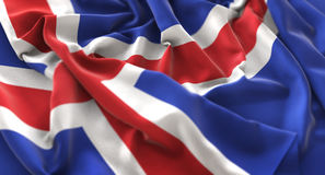Island-Flagge gekräuselter schön wellenartig bewegender Makronahaufnahme-Schuss Lizenzfreie Stockfotografie
