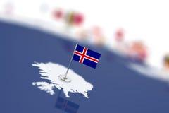 Island-Flagge im Fokus Europa-Karte mit Landflaggen lizenzfreie abbildung