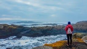 Island - flicka och havet arkivbilder