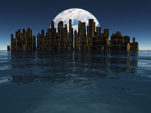 Island or floating city with planet or moon beyond Royalty Free Stock Photos
