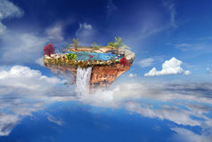 Island flying in the sky and clouds Stock Photos
