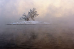Island in the fog Royalty Free Stock Photos