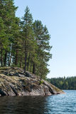 Island, forest and reflection in calm waters of the lake Royalty Free Stock Photo