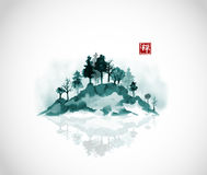 Island with forest trees in fog. Traditional oriental ink painting sumi-e, u-sin, go-hua. Hieroglyph - zen. Stock Image