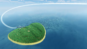 Island in the form of heart and the flying plane Royalty Free Stock Image