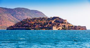 Island of Spinalonga, Crete, Greece. The Island and fortress Spinalonga, Mirabello Bay, Crete, Greece, Europen Royalty Free Stock Image
