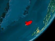 Island från utrymme på natten Royaltyfri Bild