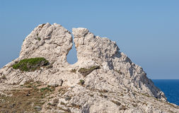 On the island Frioul at Marseille in South France. View of old rock formation on the island Frioul near Marseille in South France Royalty Free Stock Image
