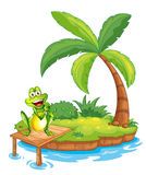 An island with a frog above the wooden bridge Royalty Free Stock Images