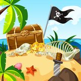 Island full of treasure and chest Royalty Free Stock Photos