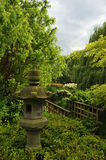 Island garden. View of stone lantern and bridge in Japanese style garden on island, Regent's Park, London Stock Image