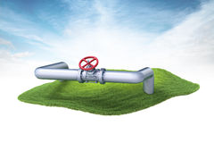 Island with gas, water or oil pipelines floating in the air on s Stock Image