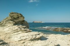 Island of Giraglia on northern tip of Corsica royalty free stock photos