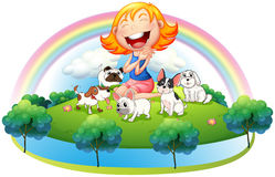 An island with a girl and her five pets Royalty Free Stock Photos