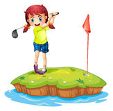 An island with a girl playing golf. Illustration of an island with a girl playing golf on a white background Royalty Free Stock Photography