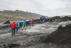 Island, Glacierwalk, SÃ-³ lheimajökull Stockfoto