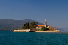 Island Gospa od milosti in Tivat bay Montenegro Royalty Free Stock Photo