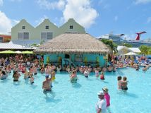 Island of Grand Turk - March 9, 2017 - vacationers enjoyed the pool at the Grand Turk islands - editorial use only Stock Images