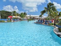 Island of Grand Turk - March 9, 2017 - vacationers enjoyed the pool at the Grand Turk islands - editorial use only Stock Photography
