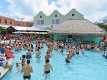 Island of Grand Turk - March 9, 2017 - vacationers enjoyed the pool at the Grand Turk islands - editorial use only Royalty Free Stock Images