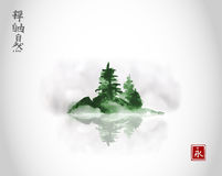 Island with green pine trees in fog. Traditional oriental ink painting sumi-e, u-sin, go-hua. Contains hieroglyphs - zen Royalty Free Stock Photos