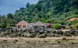 Island guest houses and motels. This photo of some of the guest houses in genteng village in tioman island Malaysia Royalty Free Stock Photo