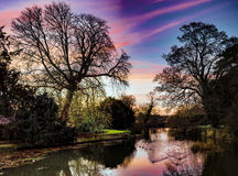 Island Hall Lake. The sunnset over Island Hall Godmanchster Royalty Free Stock Photo