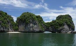 Island in Halong Bay. Small island with a small beach near Cat Ba, Vietnam Stock Photography
