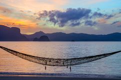 Island Hammock. Lone hammock on Kungmungdon Island in the Palawan Royalty Free Stock Photo